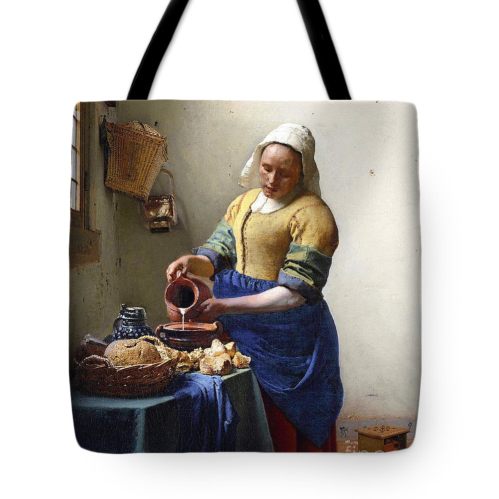 Female Portrait; Kitchen; Scullery; Interior; Bread Basket; Table; Loaf; Bonnet; Servant; Pouring; Milk; Maid; Domestic; Rustic; La Laitiere Tote Bag featuring the painting The Milkmaid by Jan Vermeer