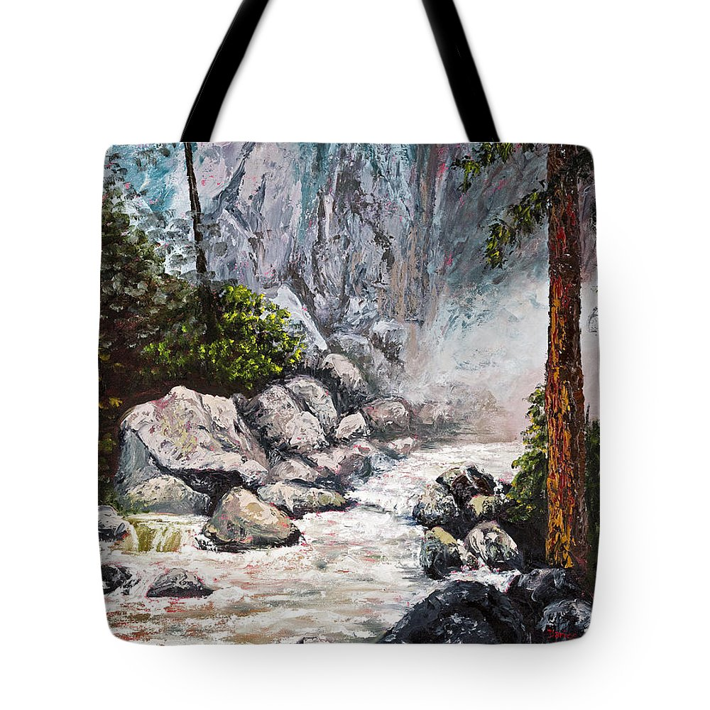 Landscape Tote Bag featuring the painting The Mist At Bridalveil Falls by Darice Machel McGuire