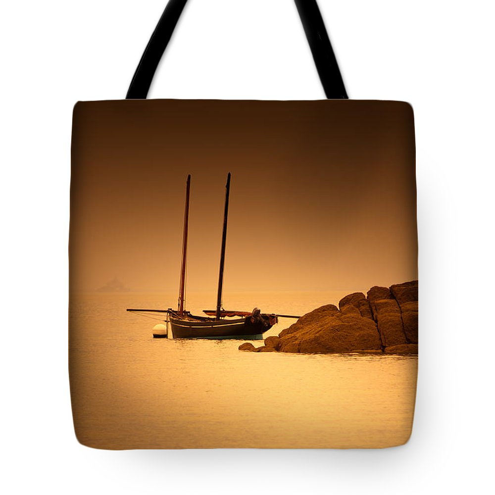 Loriental Tote Bag featuring the photograph The Mont Saint-michel Bay At Sunset by Loriental Photography