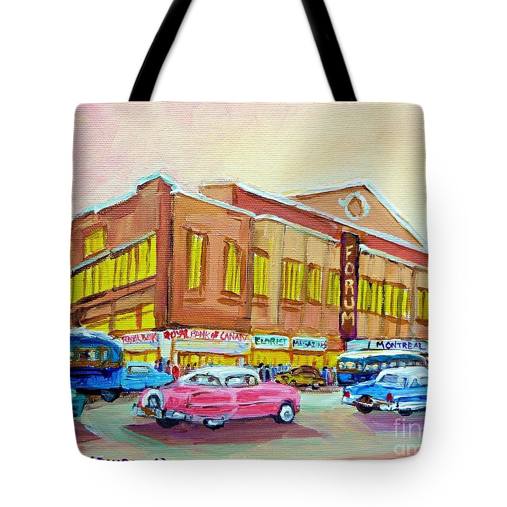 Montreal Tote Bag featuring the painting The Montreal Forum by Carole Spandau