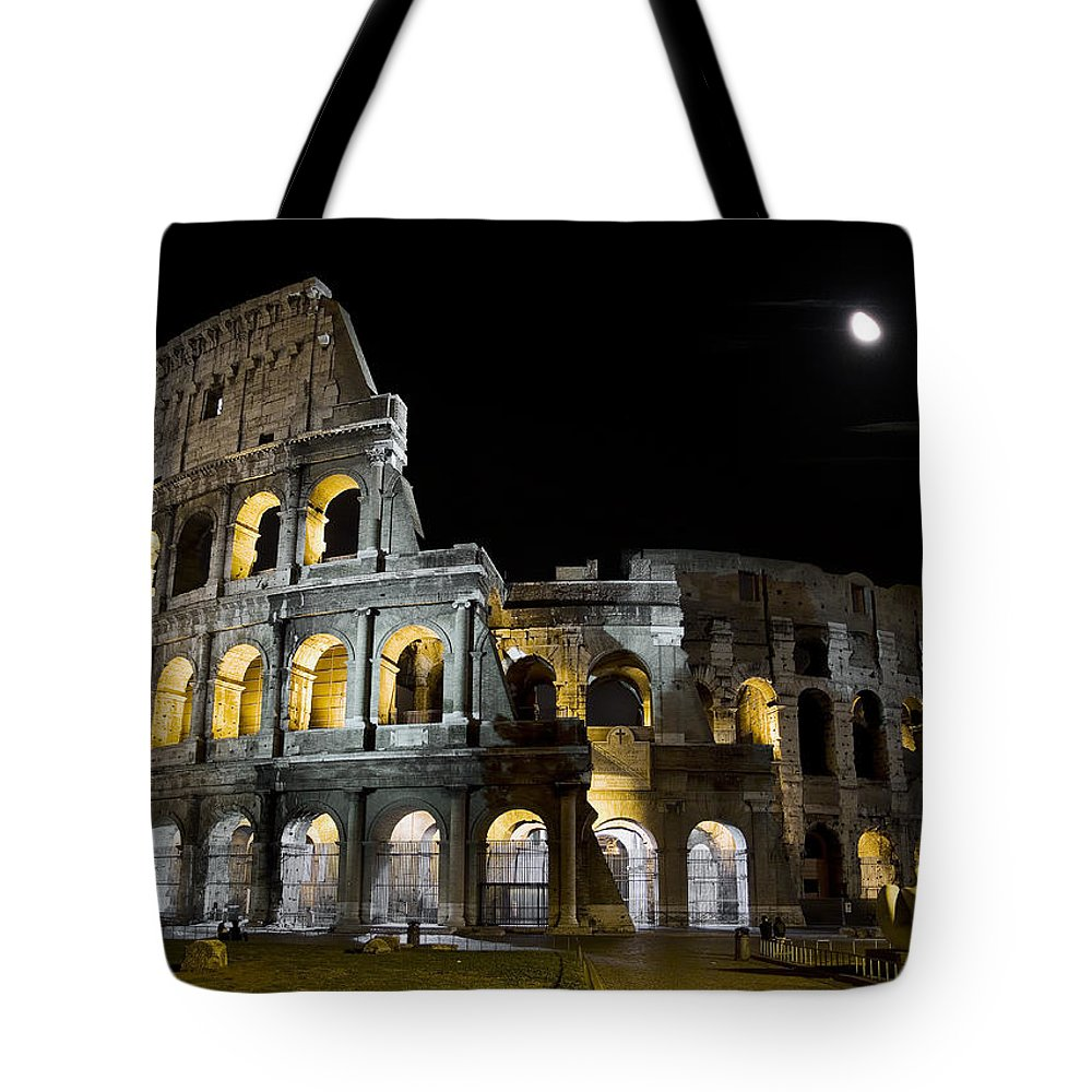 Colosseum Tote Bag featuring the photograph The Moon Above The Colosseum No1 by Weston Westmoreland