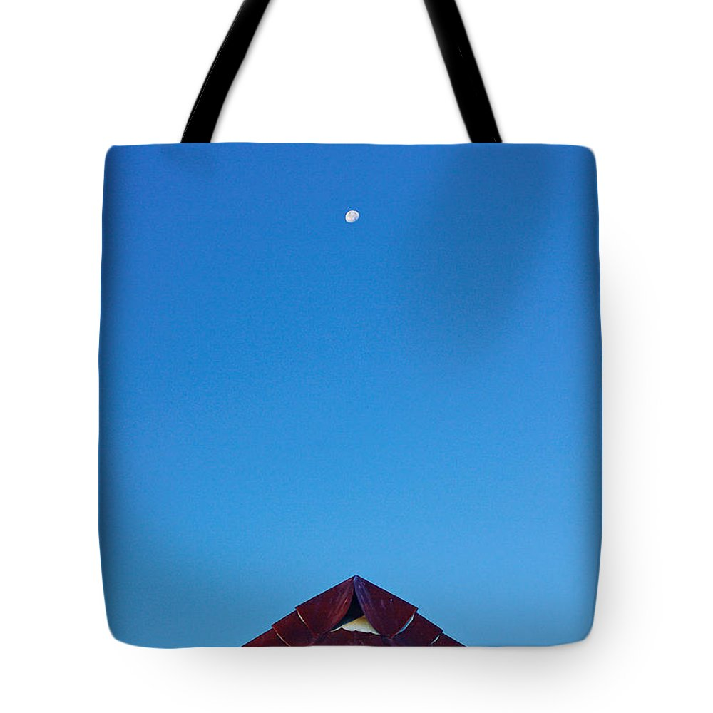 Moon Tote Bag featuring the photograph The Moon The Roof And The Sky by Gary Richards