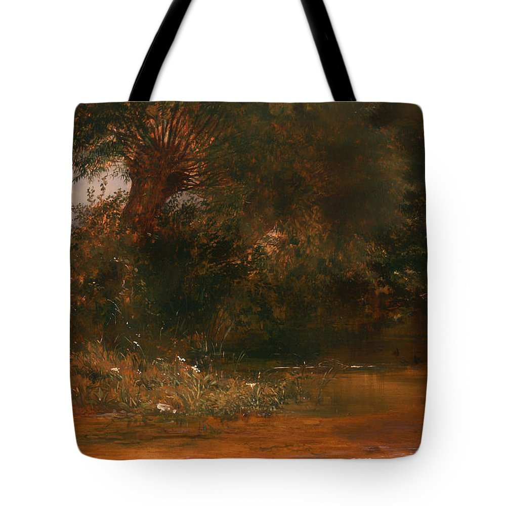 Painting Tote Bag featuring the painting The Moor Hen's Haunt by Mountain Dreams