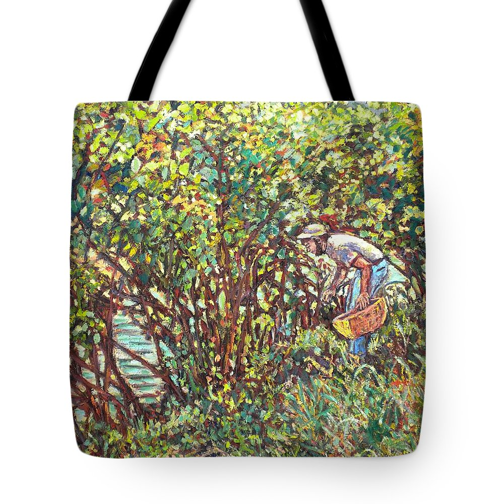 Landscape Tote Bag featuring the painting The Mushroom Picker by Kendall Kessler