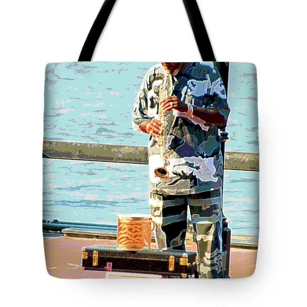Soprano Saxophone Tote Bag featuring the photograph The Music Man by Suzanne Gaff