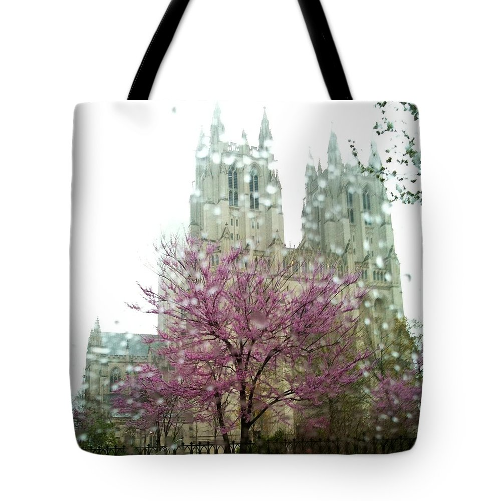 National Cathedral Tote Bag featuring the photograph The National Cathedral by Lois Ivancin Tavaf