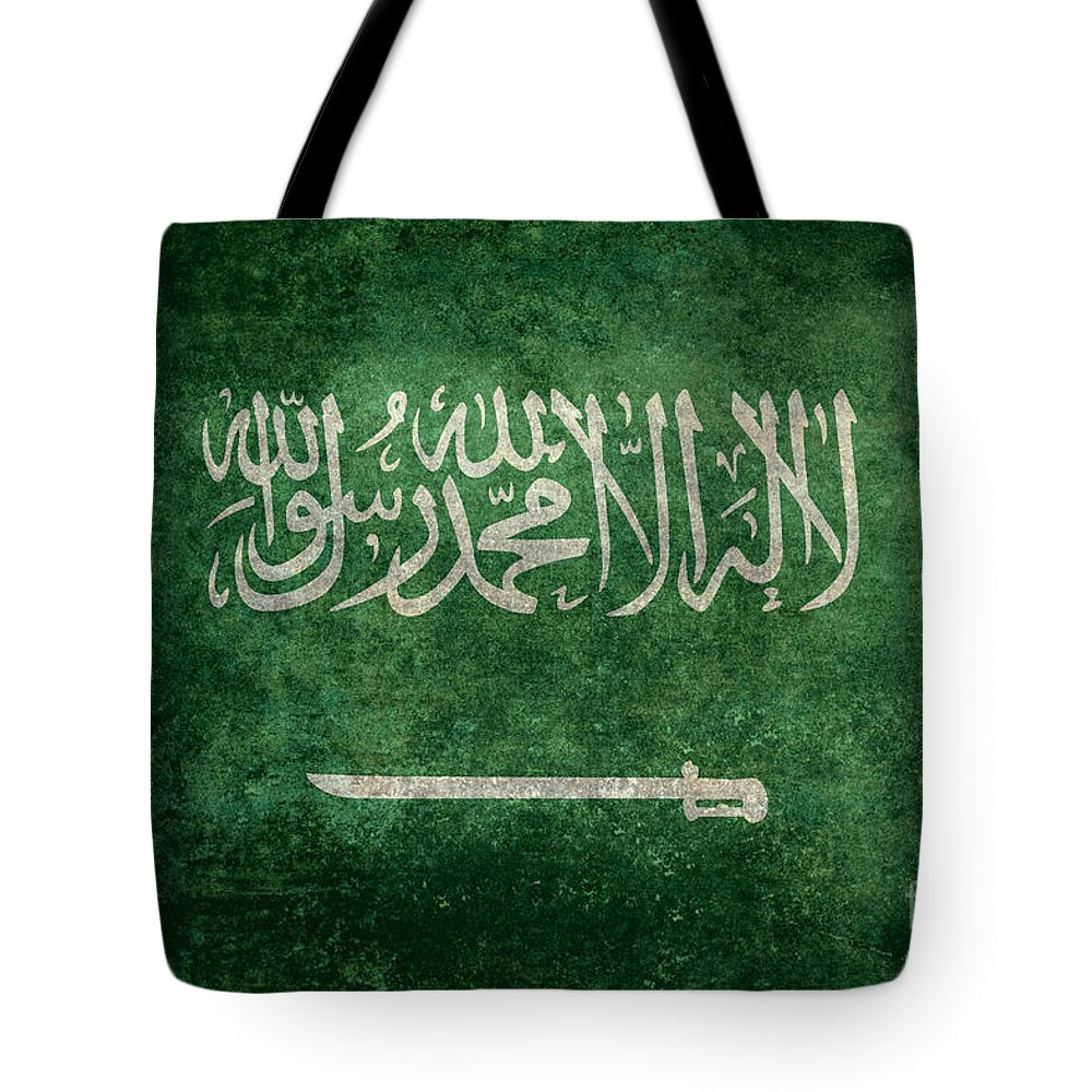 Aged Tote Bag featuring the digital art The National Flag Of Kingdom Of Saudi Arabia Vintage Version by Bruce Stanfield
