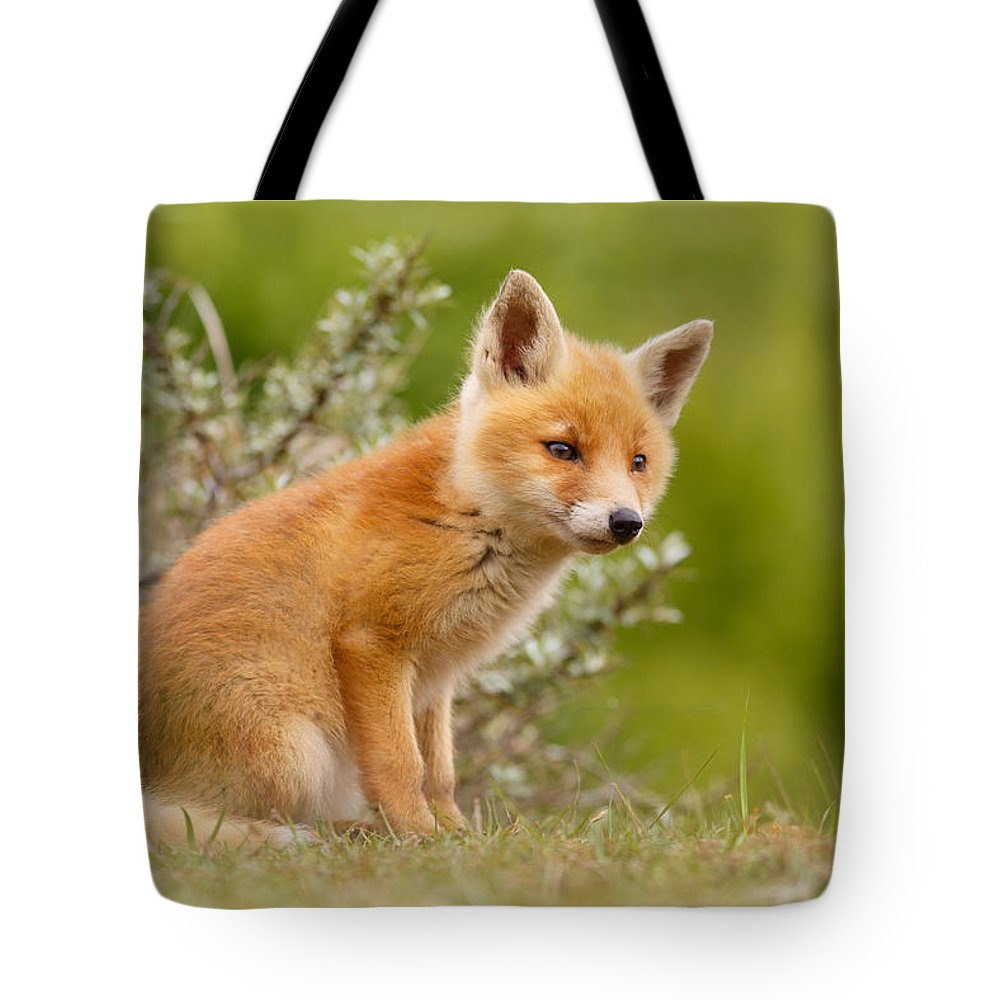 Cub Tote Bag featuring the photograph The New Kit ...curious Red Fox Cub by Roeselien Raimond
