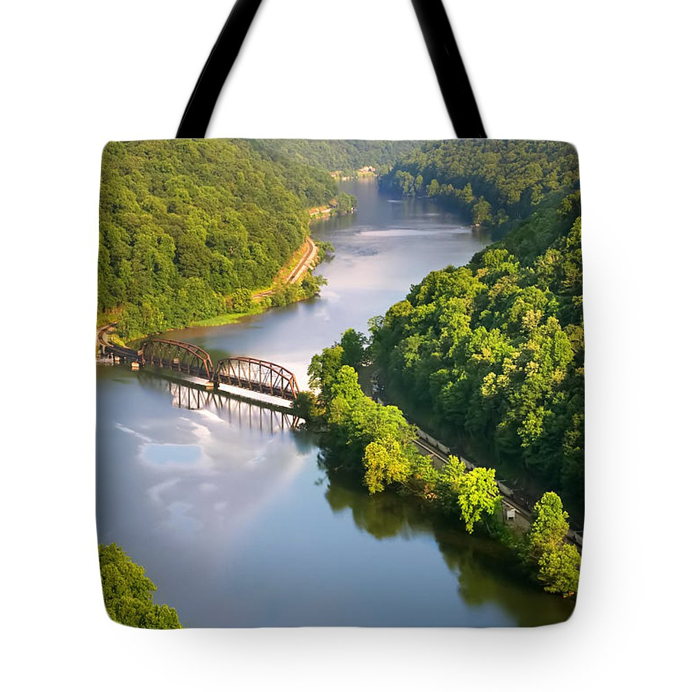 Hawks Nest State Park Tote Bag featuring the photograph The New River From Hawks Nest by Mary Almond