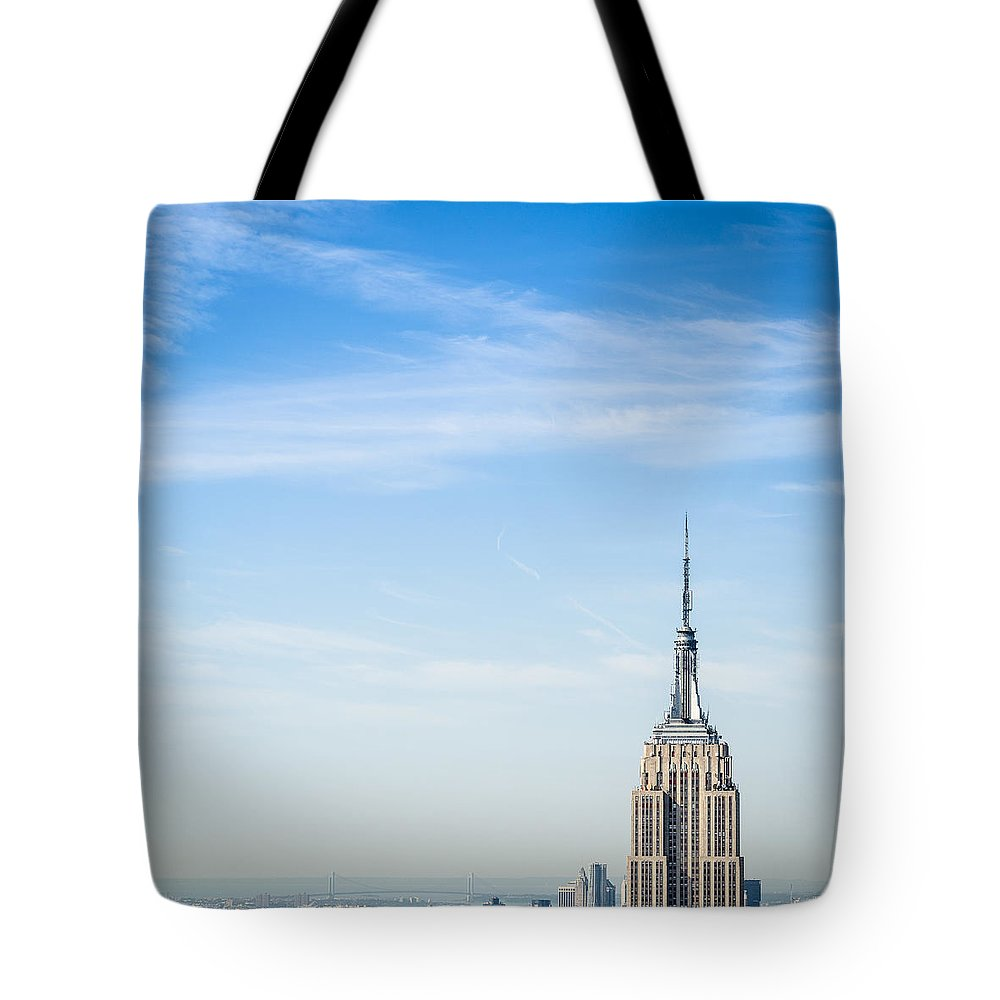 Lower Manhattan Tote Bag featuring the photograph The New York City Empire State Building by Franckreporter