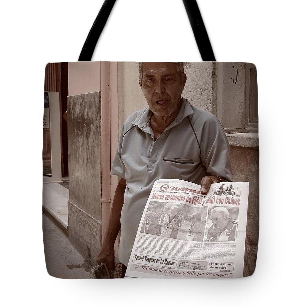 Newspaper Tote Bag featuring the photograph The Newspaper Seller by Beth Goddard