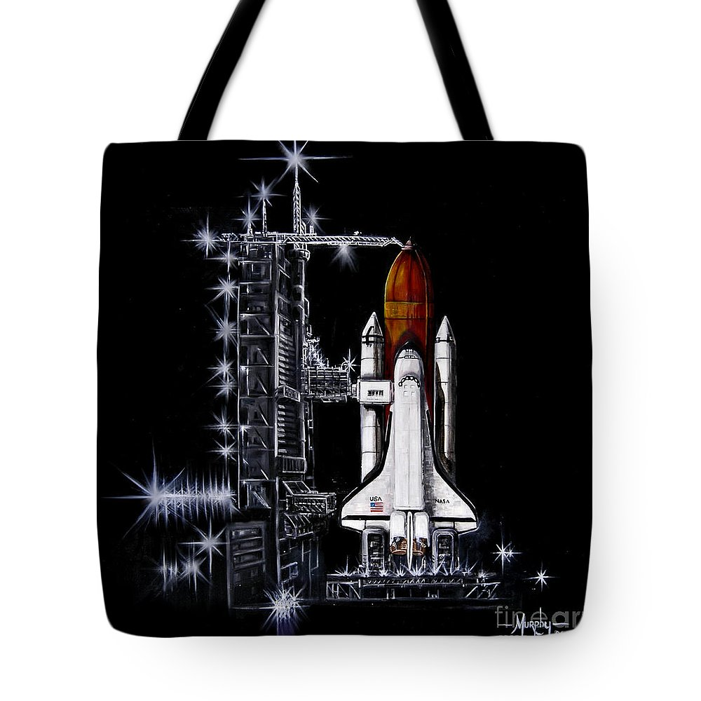 Shuttle Tote Bag featuring the painting The Night Before by Murphy Elliott
