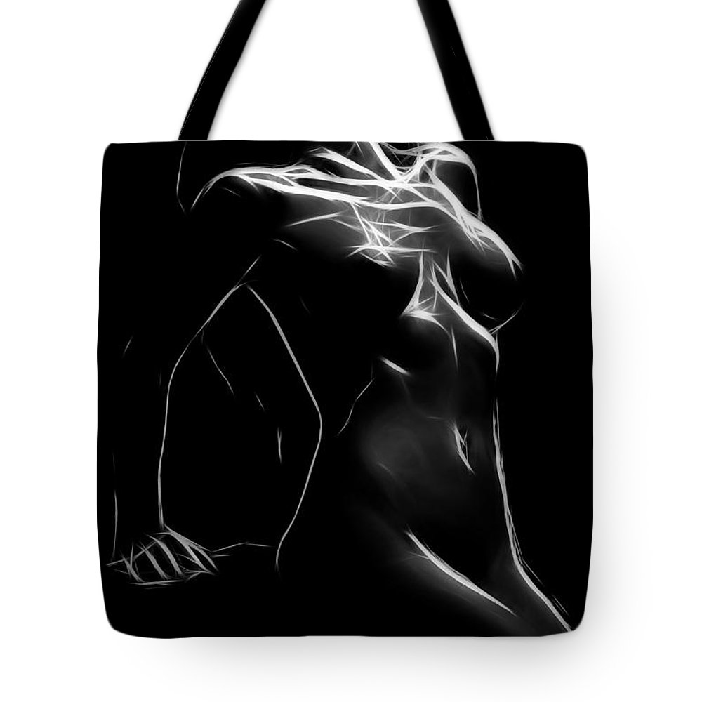 Black White Expressionism Impressionism Minimalism Erotic Woman Female Girl Nude Naked Boobs Butt Tits Curve Curves Tote Bag featuring the painting The Nude by Steve K