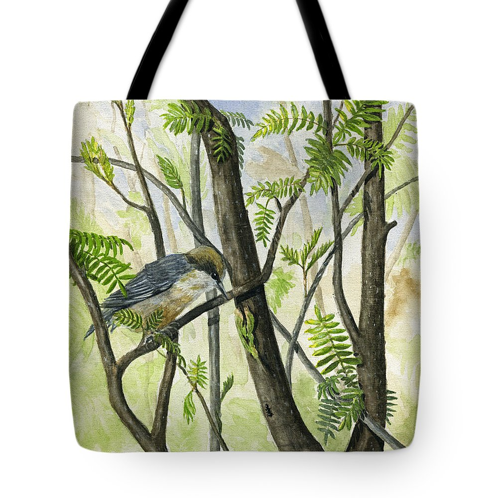 Bird Tote Bag featuring the painting The Nuthatch by Mary Tuomi
