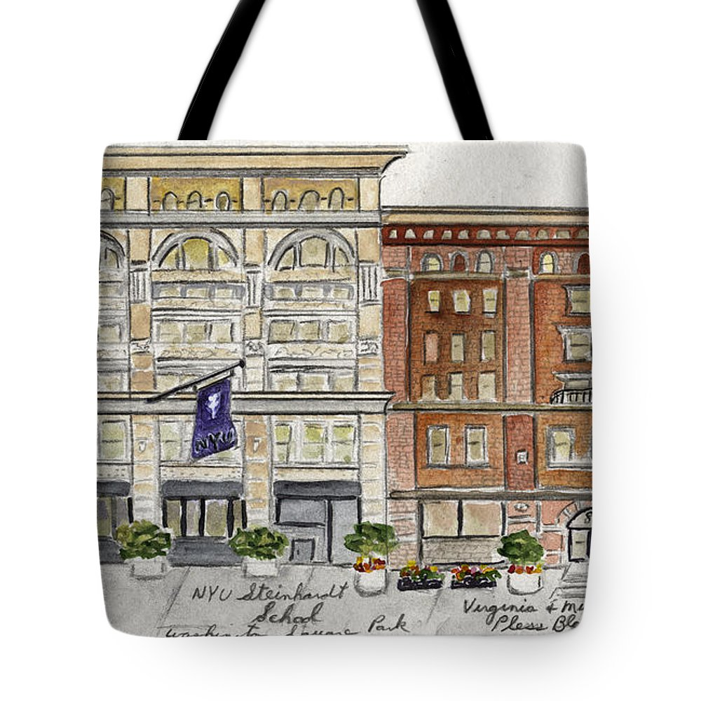 Nyu Tote Bag featuring the painting The Nyu Steinhardt Pless Building by AFineLyne
