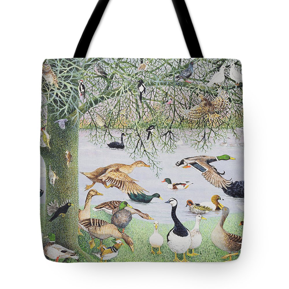 Flock Tote Bag featuring the photograph The Odd Duck Acrylic On Canvas by Pat Scott