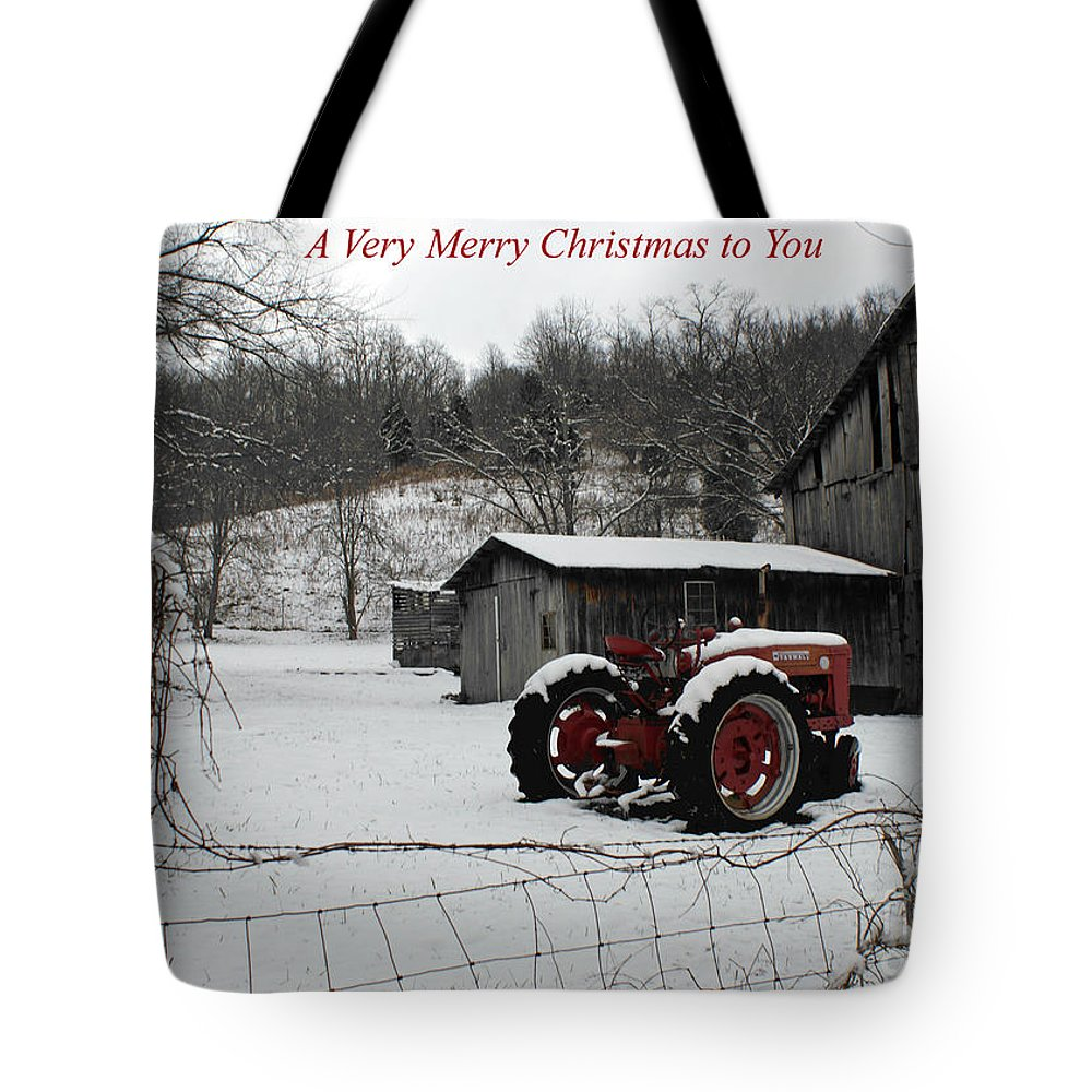 Tractor Tote Bag featuring the photograph The Old Family Farm Christmas Card by Roger Potts