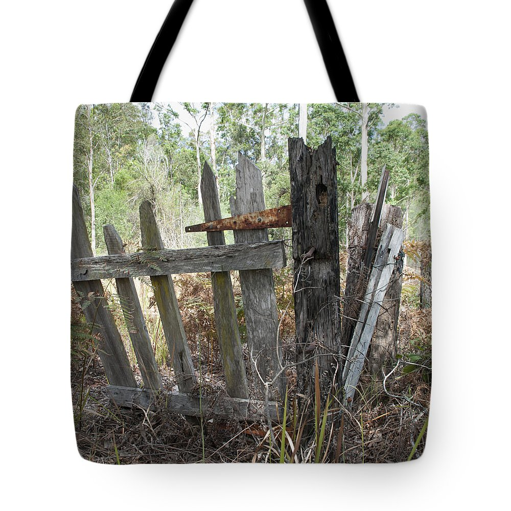 Abandon Tote Bag featuring the photograph The Old Gate Could Use Some Oil. by Rodney Appleby
