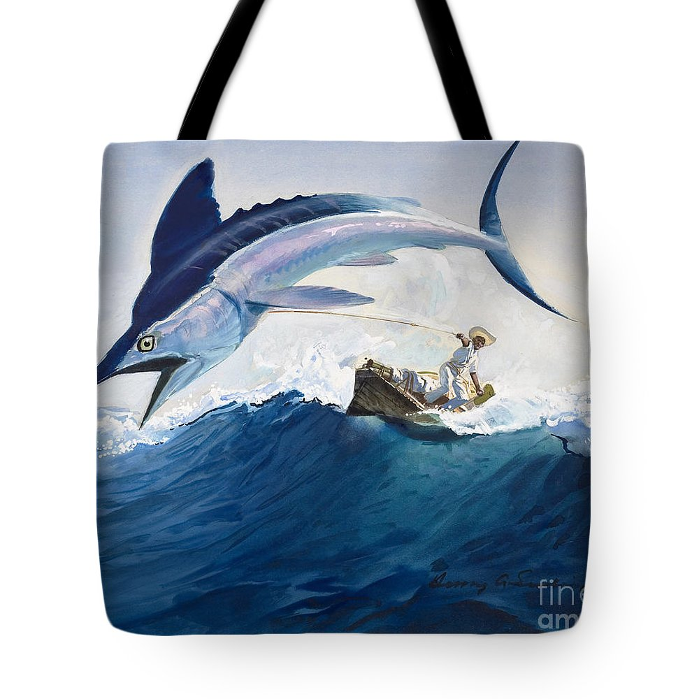 The Tote Bag featuring the painting The Old Man And The Sea by Harry G Seabright