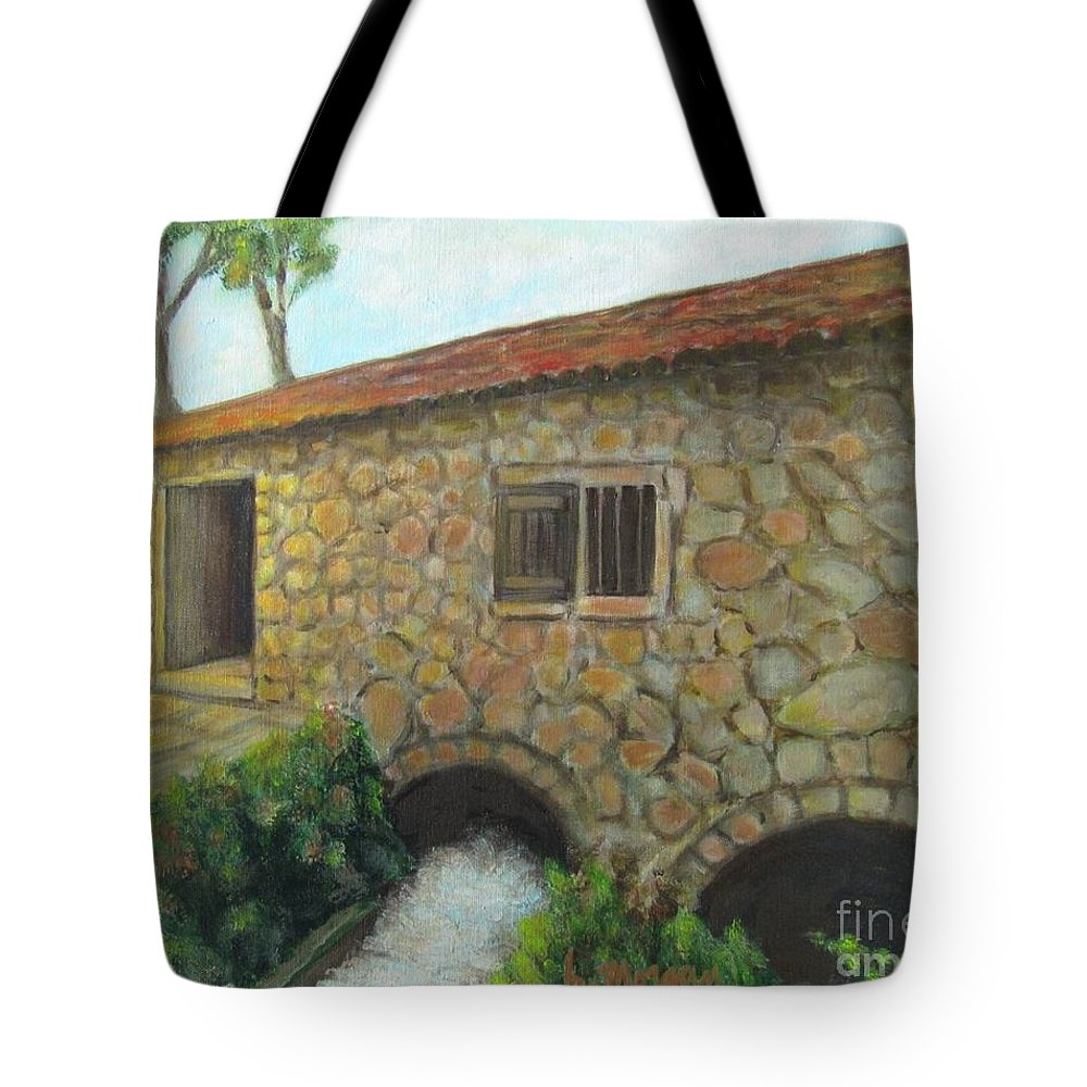 Mill Tote Bag featuring the painting The Old Mill In Dubrovnik by Laurie Morgan
