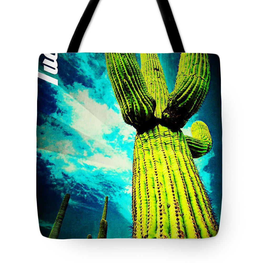 The Old Pueblo Tote Bag featuring the mixed media The Old Pueblo by Michelle Dallocchio