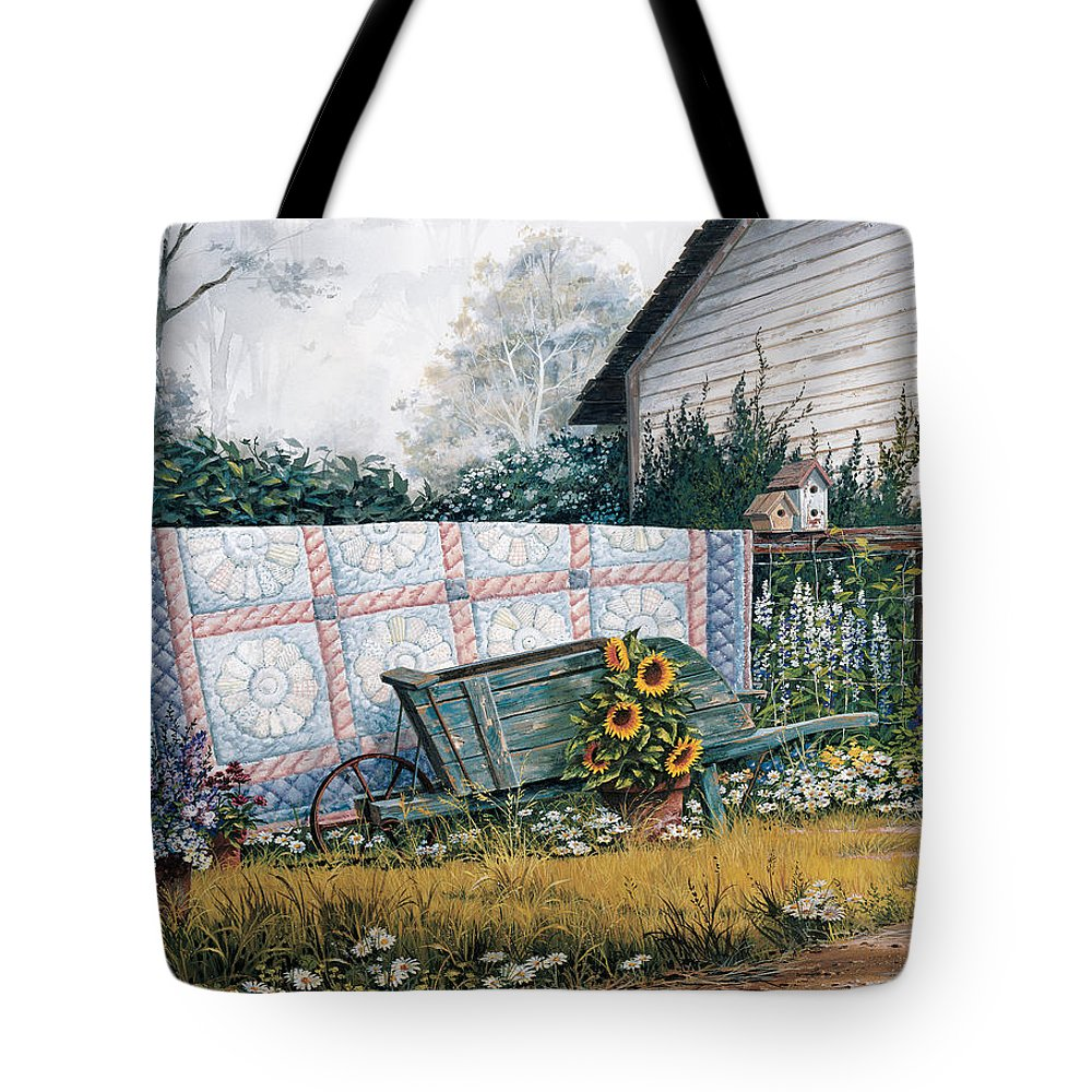 Michael Humphries Tote Bag featuring the painting The Old Quilt by Michael Humphries