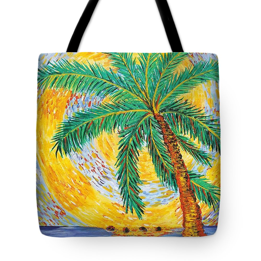 Island Art Adventures Tote Bag featuring the painting The Original Spiral Palm by Suzanne MacAdam