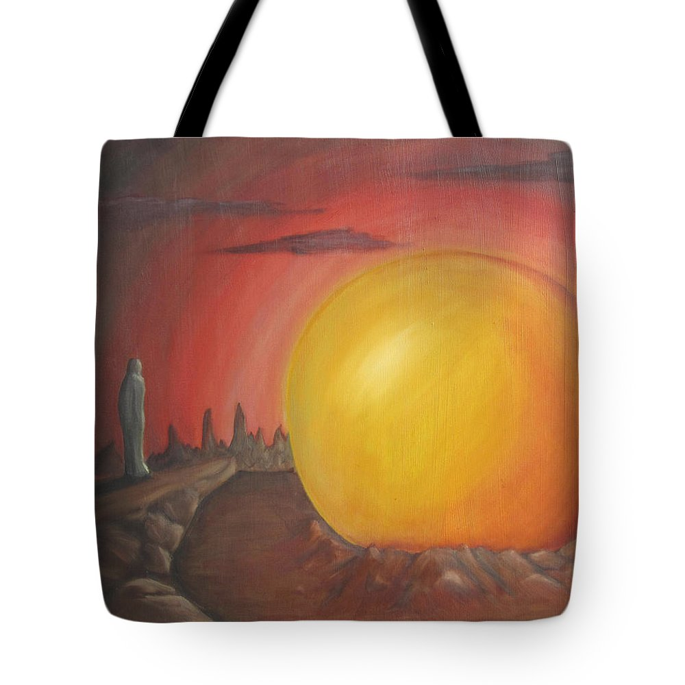 Surreal Tote Bag featuring the painting The Other Side Of The Sunset by Jeffrey Oleniacz