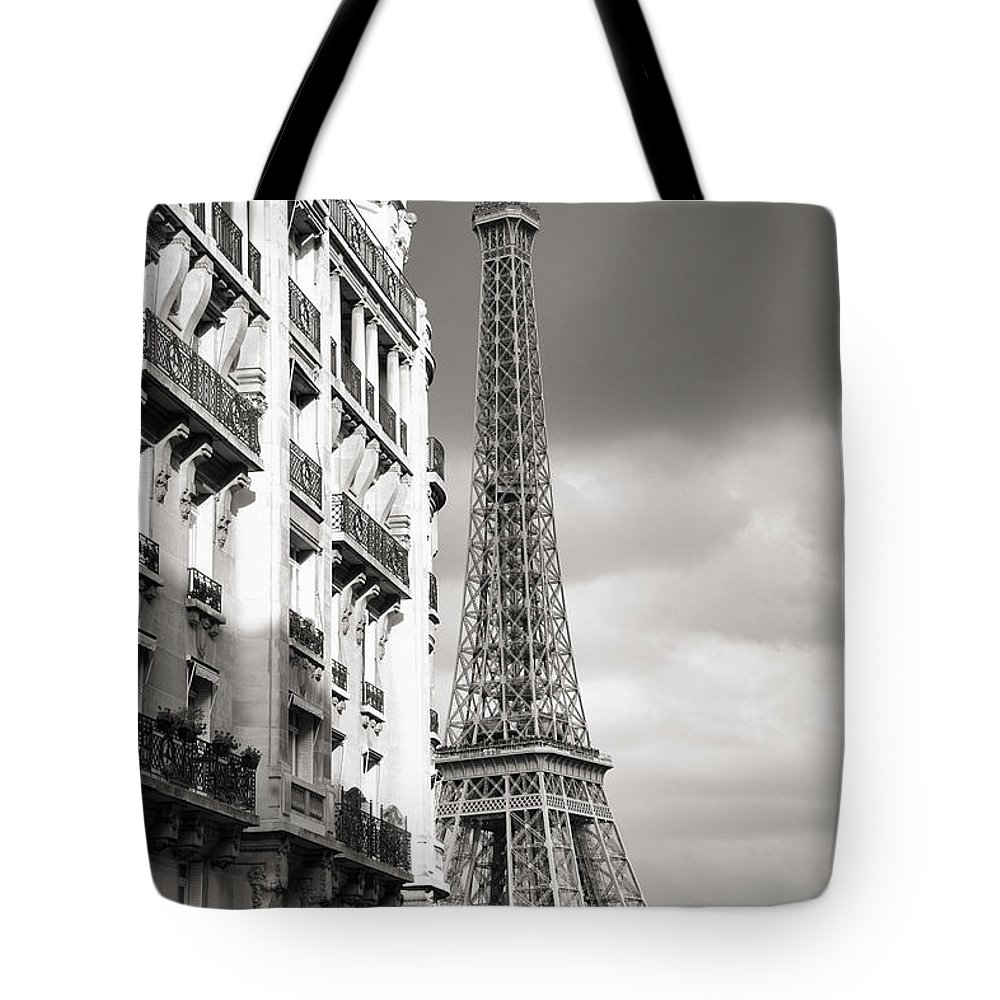 Different View Tote Bag featuring the photograph The Other View Of The Eiffel Tower by For Ninety One Days