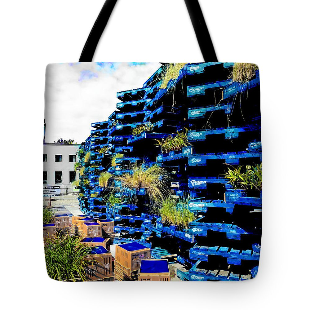 Gap Filler Tote Bag featuring the photograph The Pallet Pavellion by Steve Taylor