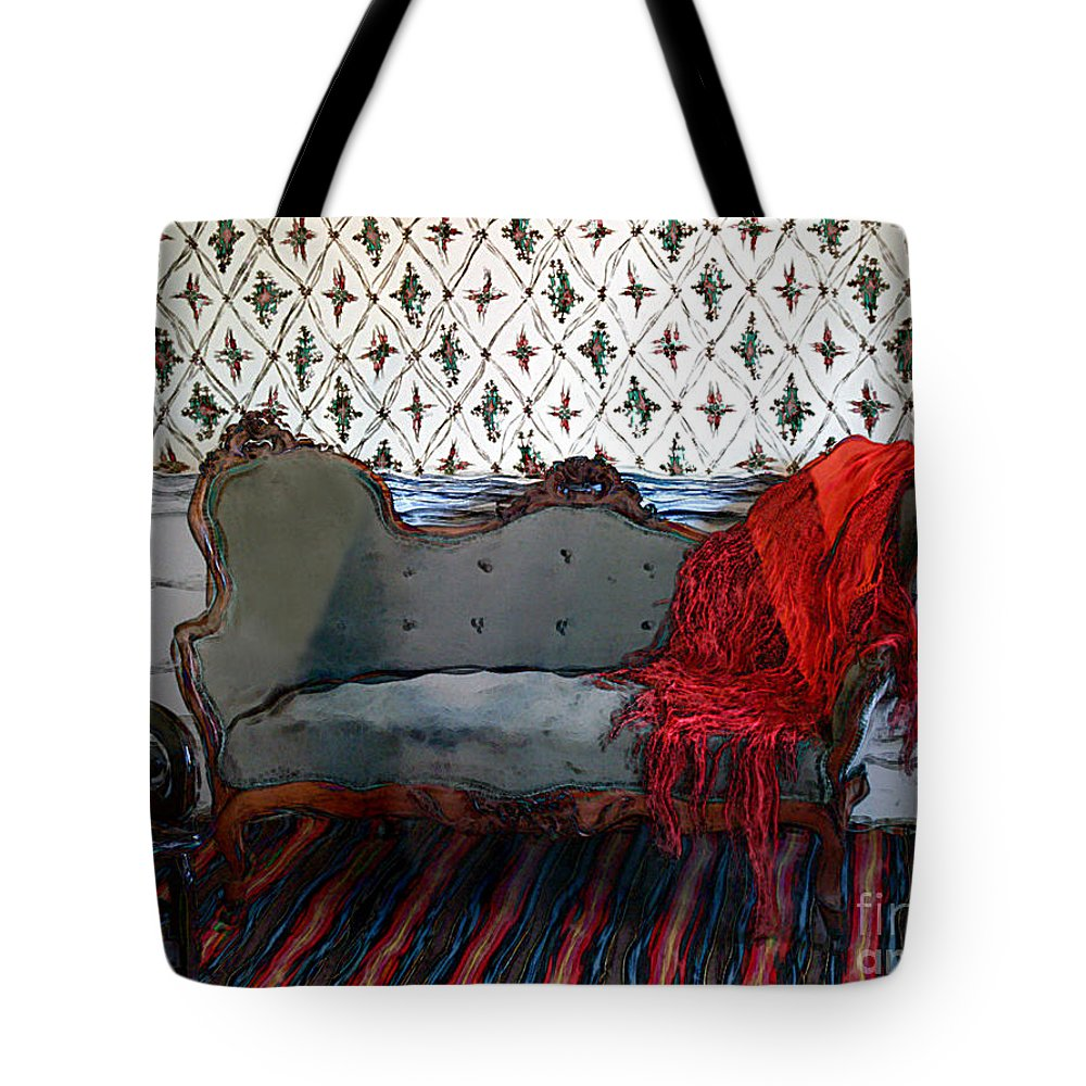 Furniture Tote Bag featuring the painting The Parlor At Chicago Joe's by RC DeWinter