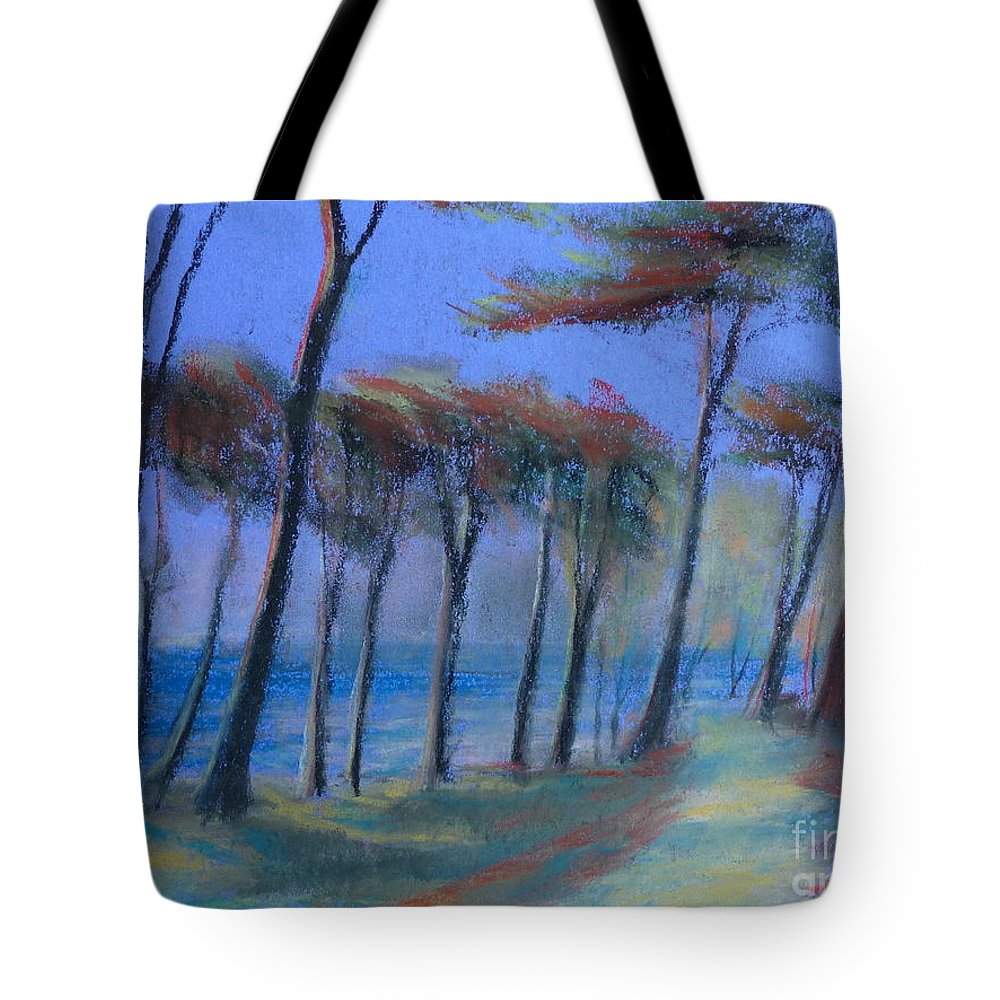Landscape Tote Bag featuring the painting The Path At Lands End by Pusita Gibbs