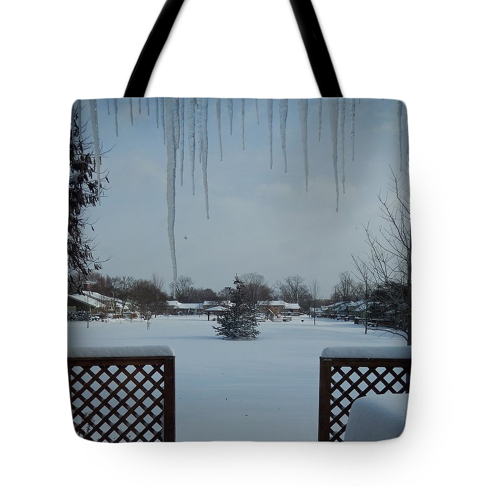 Table Tote Bag featuring the photograph The Patio In Winter by Susan Wyman