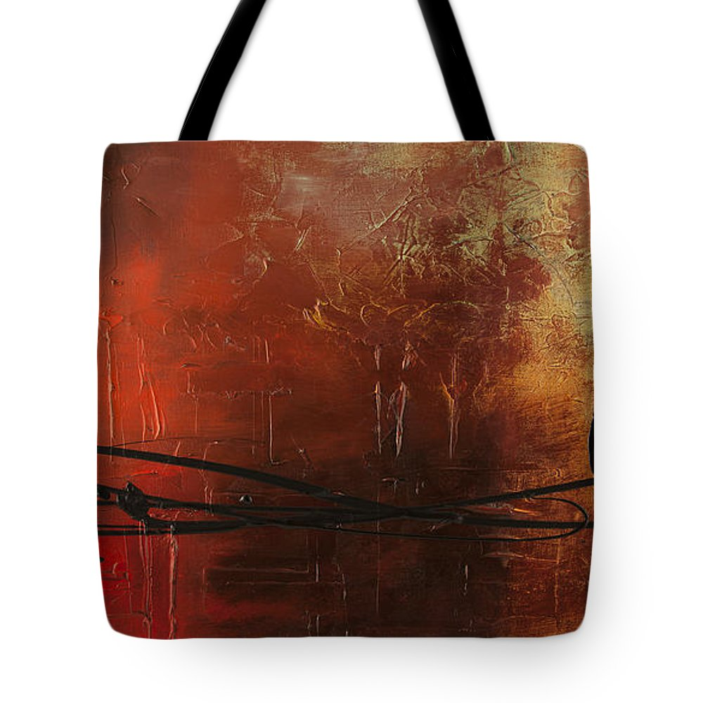 Music Abstract Art Tote Bag featuring the painting The Pause by Carmen Guedez