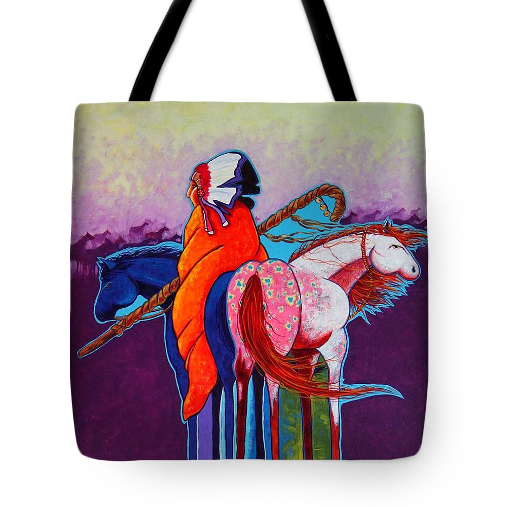 Native American Tote Bag featuring the painting The Peacemakers Gift by Joe Triano