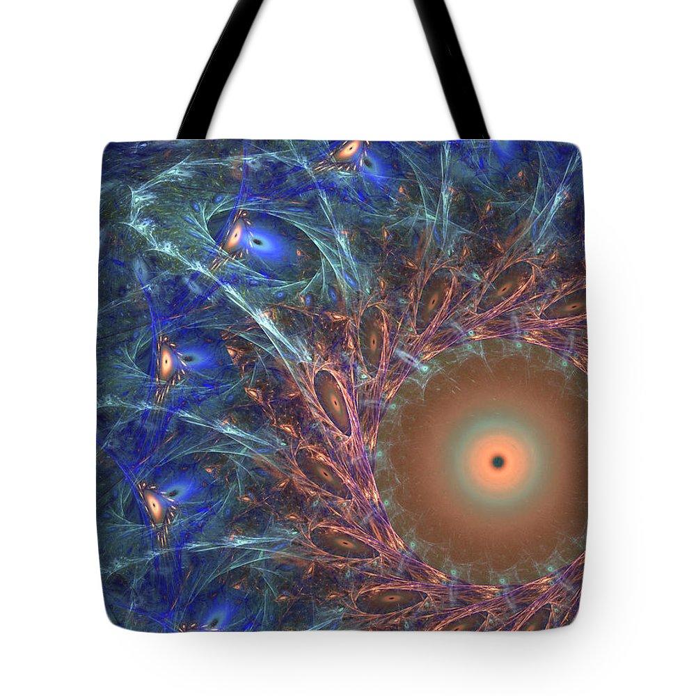Mandala Tote Bag featuring the digital art The Peacock by Ricky Barnard