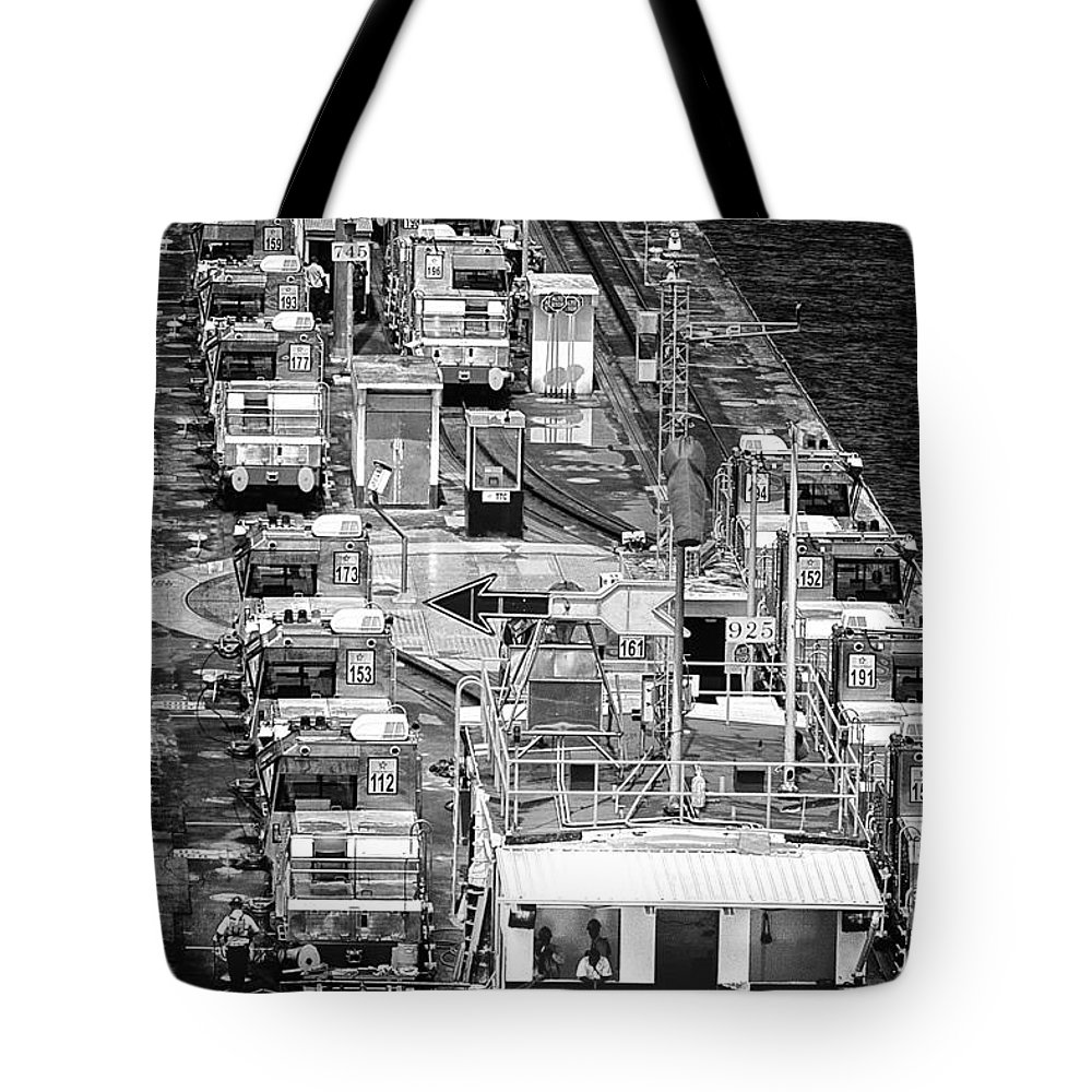 Panama Canal Mules Tote Bag featuring the photograph The Pecking Order Monochrome by Rene Triay Photography