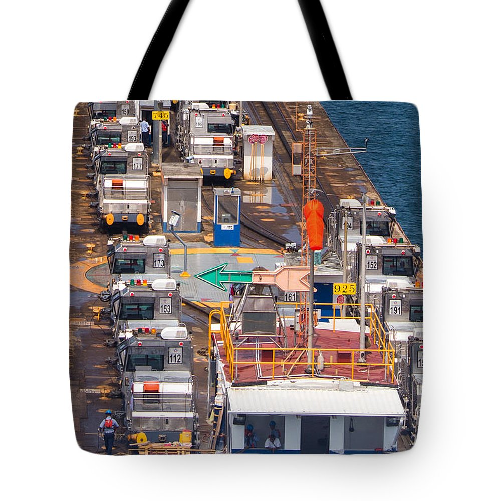 Panama Canal Mules Tote Bag featuring the photograph The Pecking Order by Rene Triay Photography