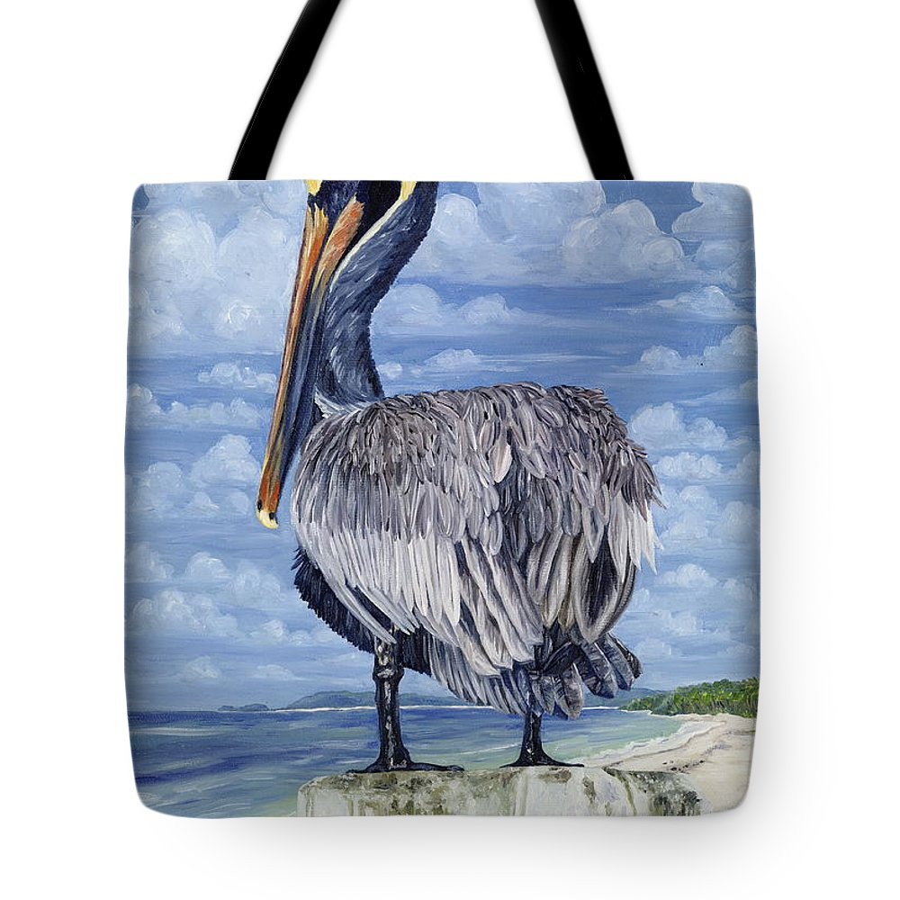 Seascape Tote Bag featuring the painting Pelican Perch by Danielle Perry