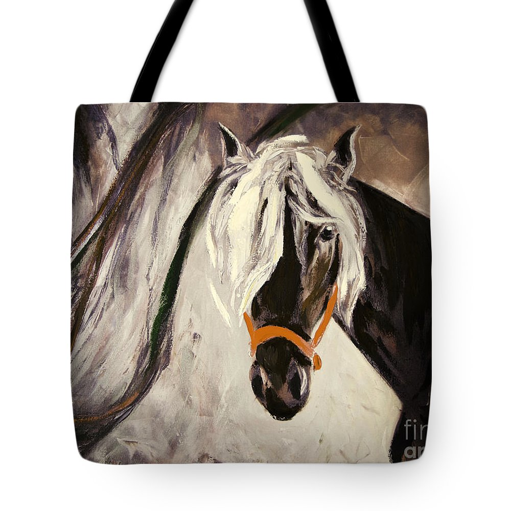Horses Tote Bag featuring the painting The Performer by Gina De Gorna