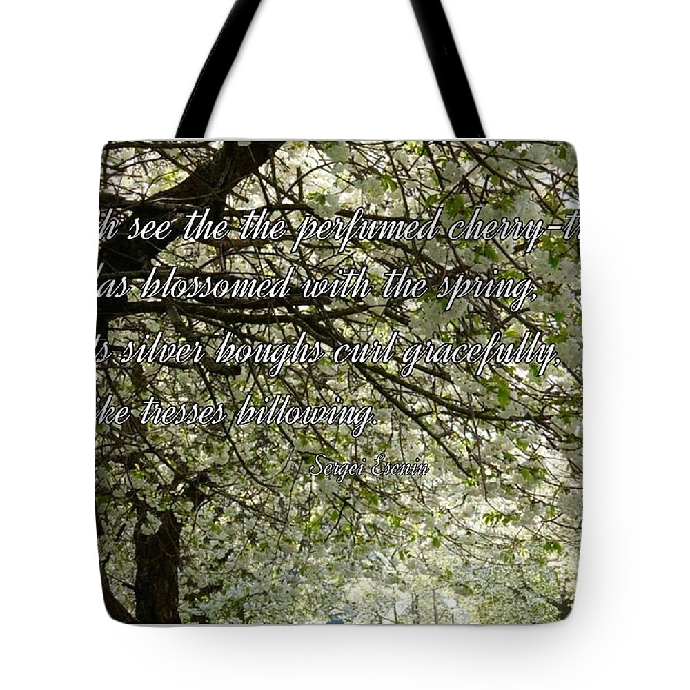 Blossoms Tote Bag featuring the photograph The Perfumed Cherry Tree 1 by Joan-Violet Stretch