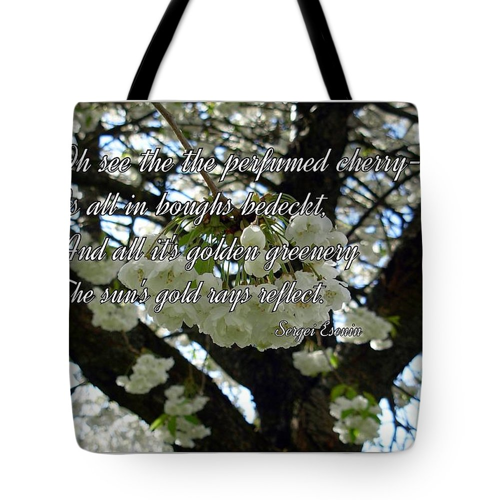 Cherry Trees Tote Bag featuring the photograph The Perfumed Cherry Tree 2 by Joan-Violet Stretch