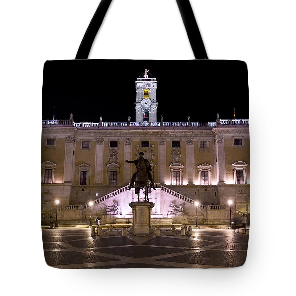 Rome Tote Bag featuring the photograph The Piazza Del Campidoglio At Night by Weston Westmoreland