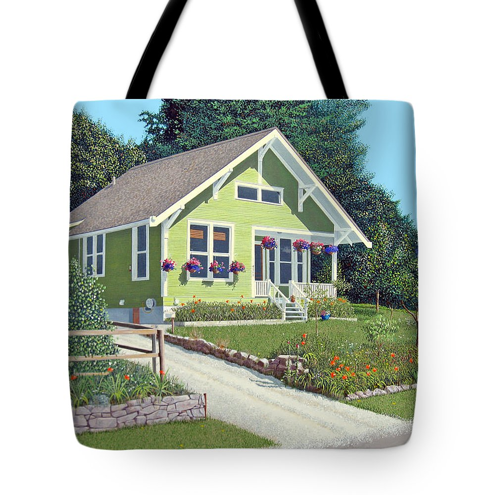 Powell River Tote Bag featuring the painting Our Neighbour's House by Gary Giacomelli