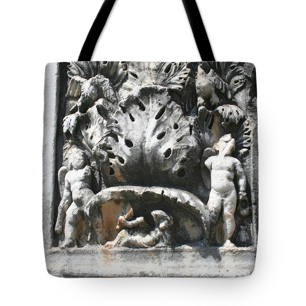 Aphrodisias Tote Bag featuring the photograph The Pilaster Friezes Of The Palaestra by Taiche Acrylic Art