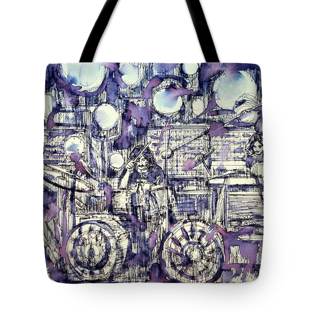 Pink Tote Bag featuring the drawing the PINK FLOYD in concert - drawing portrait by Fabrizio Cassetta