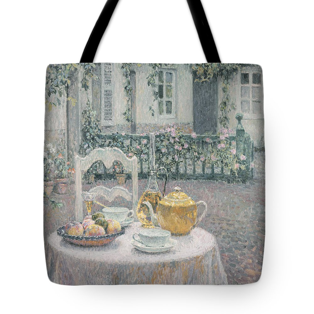 Table Tote Bag featuring the painting The Pink Tablecloth by Henri Eugene Augustin Le Sidaner