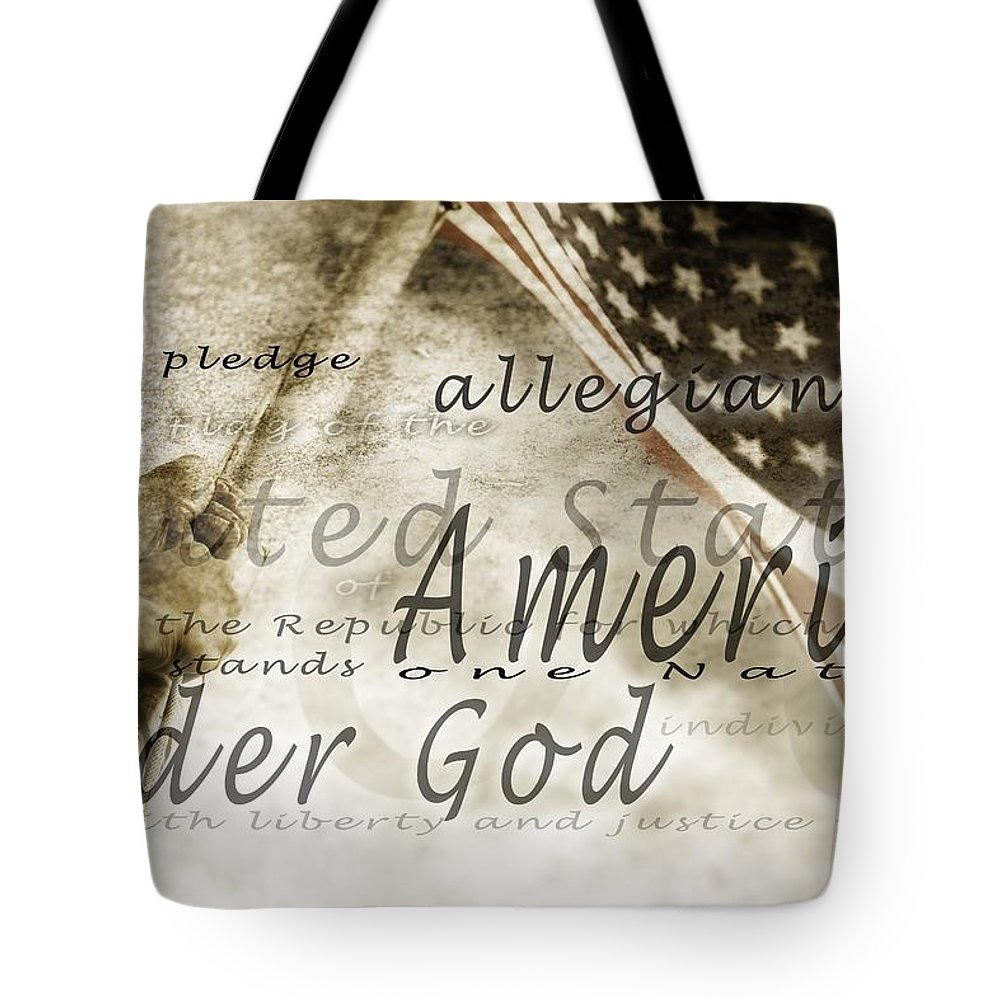 America Tote Bag featuring the photograph The Pledge Of Allegiance And An by Chris and Kate Knorr