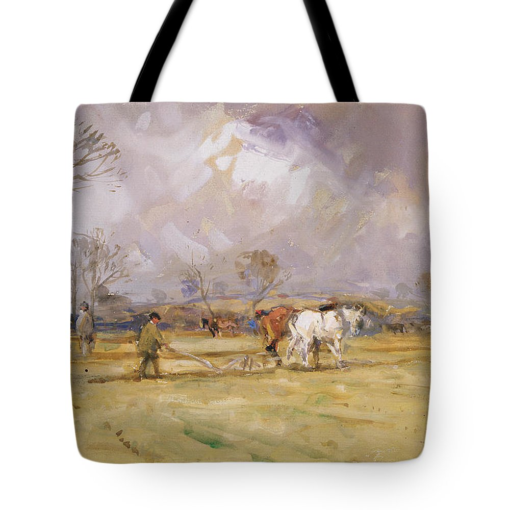Plow Tote Bag featuring the painting The Plough Team by John Atkinson