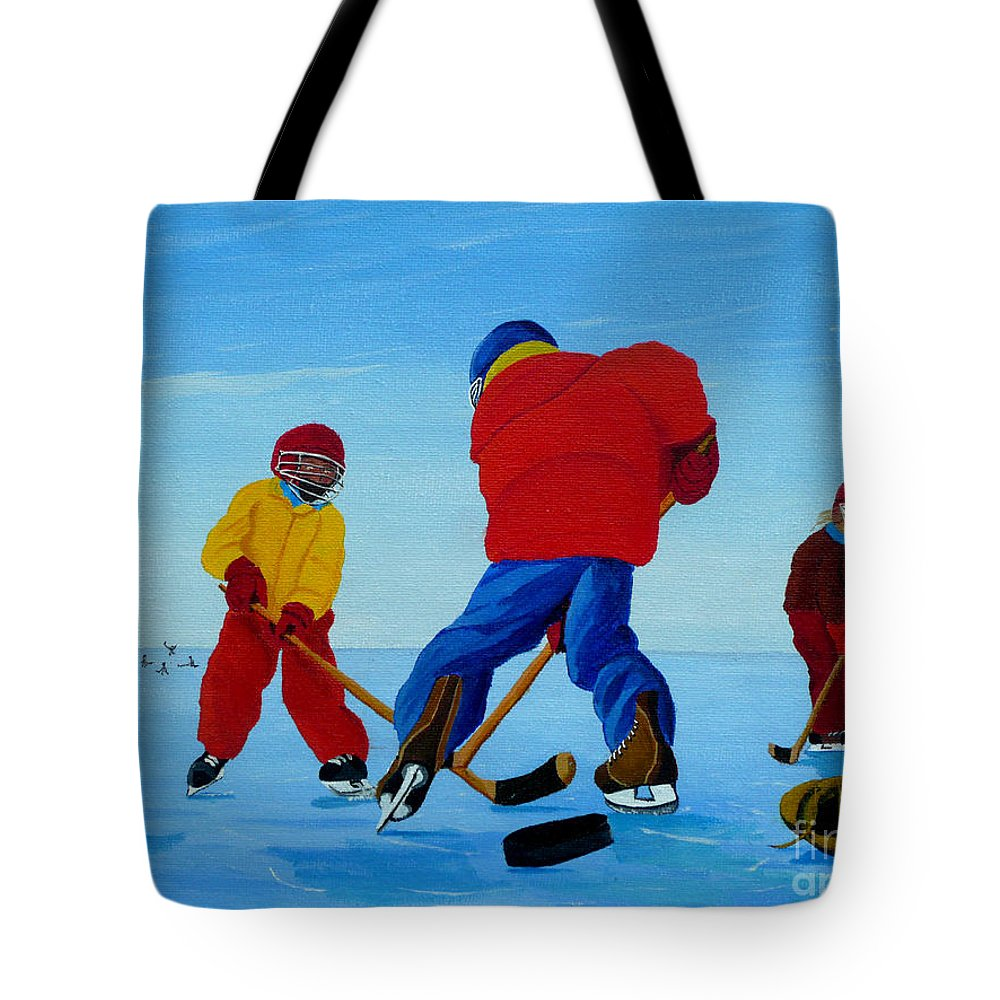 Winter Tote Bag featuring the painting The Pond Hockey Game by Anthony Dunphy